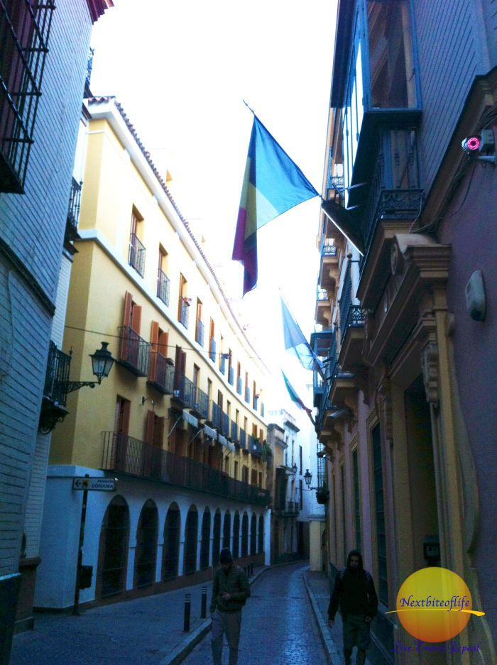 seville street with flags