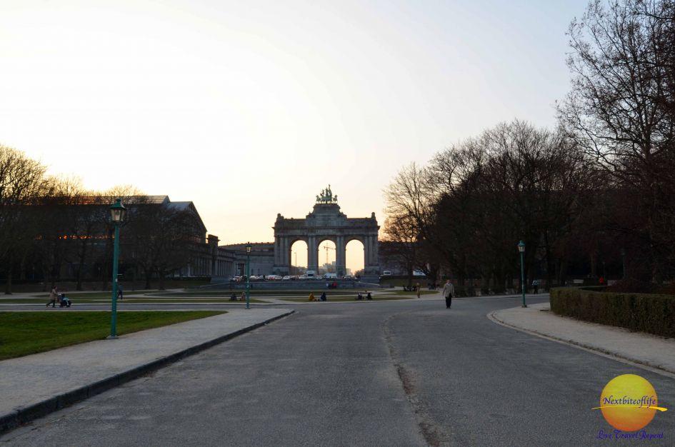 cinquantenaire park brussels at sunset