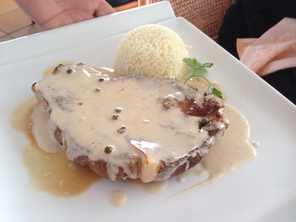 pork chop and rice plate