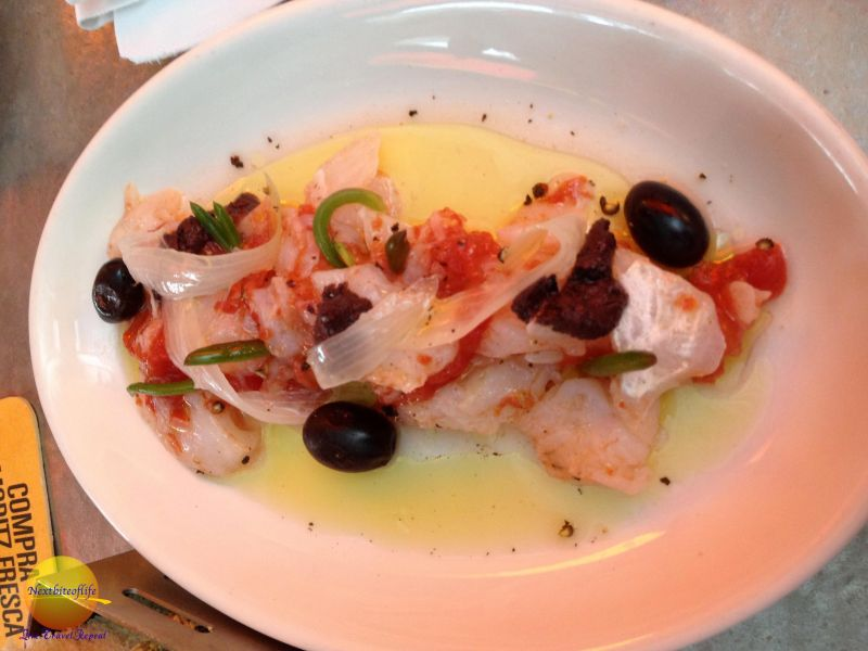 fish tapa with sun dried tomatoes at la fabrica barcelona