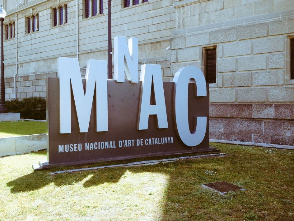 MNAC Barcelona sign in grey
