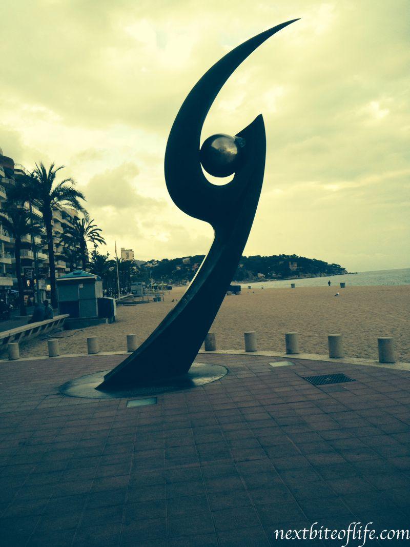 beach front statue lloret de mar beach