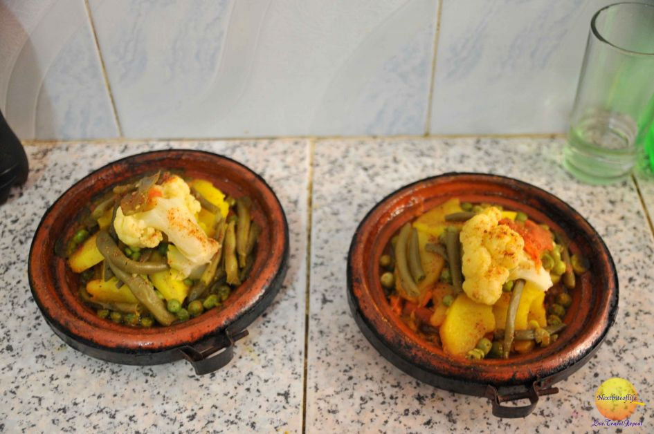 Loads of veggies, and small amount of meat in tagine..