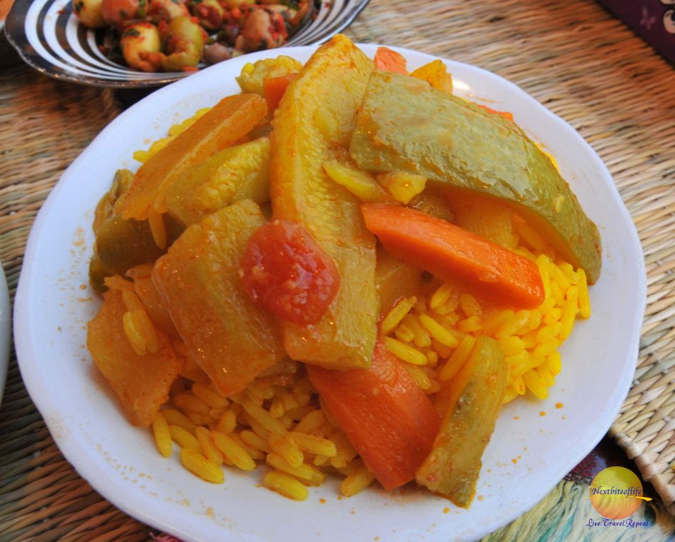 Rice plate with carrots in Marrakech
