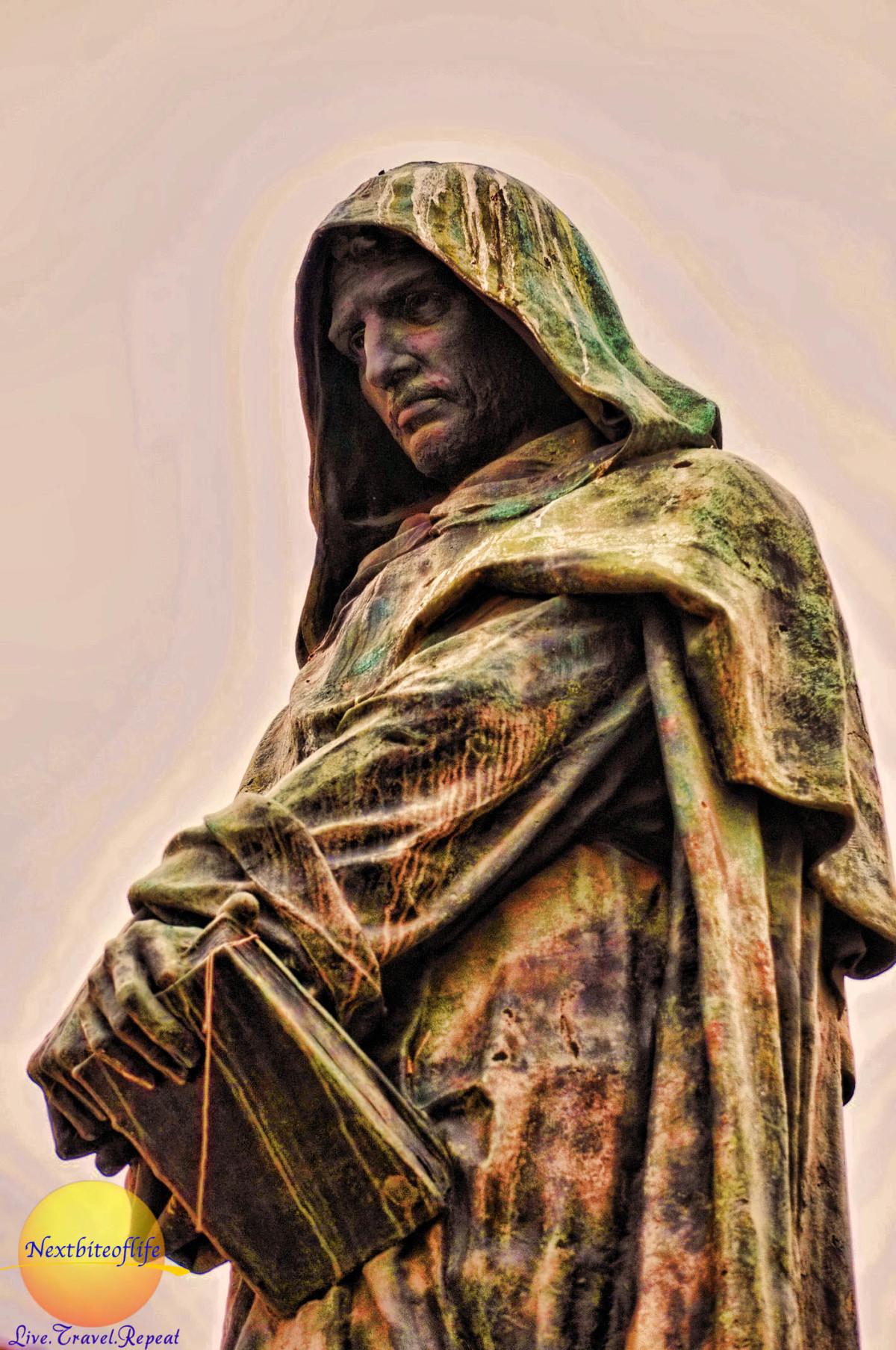 Giordano bruno statue in campo de fiori rome italy