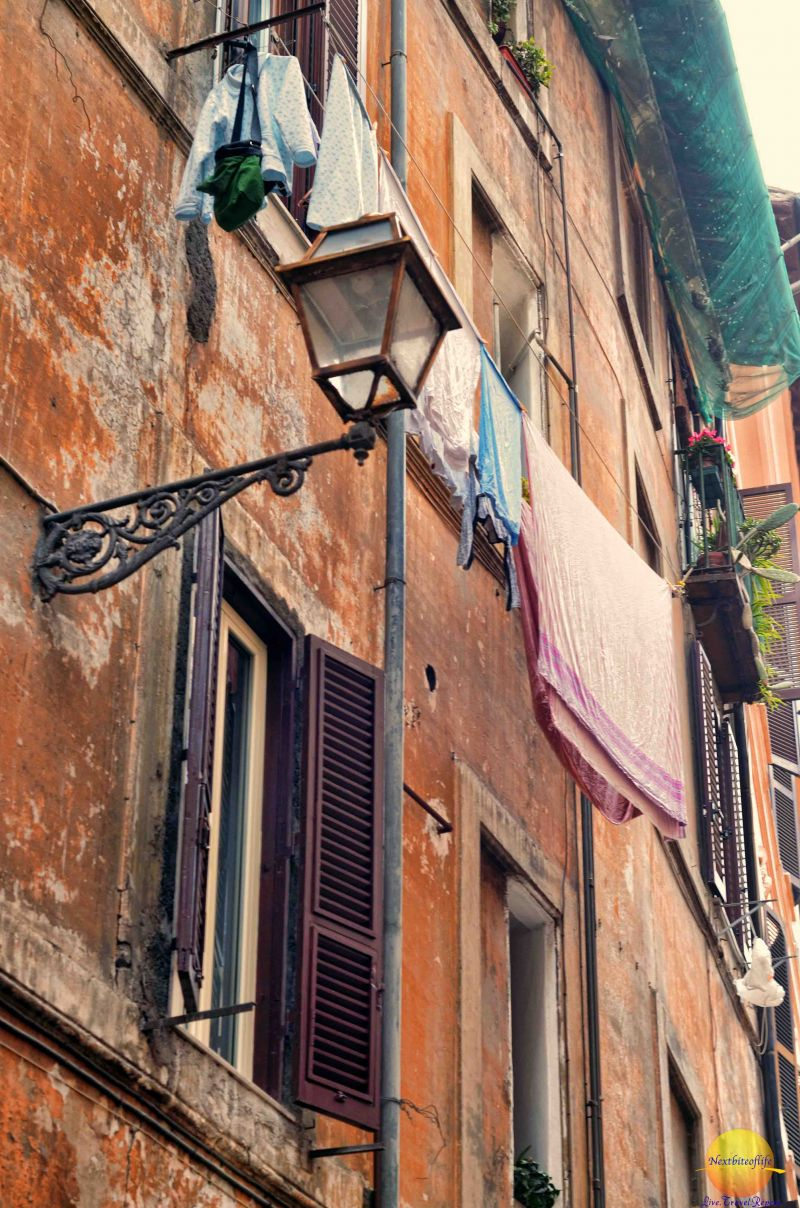 The neighborhood of campo de fiori Rome. A familiar sight in Europe, clothes hung out to dry.