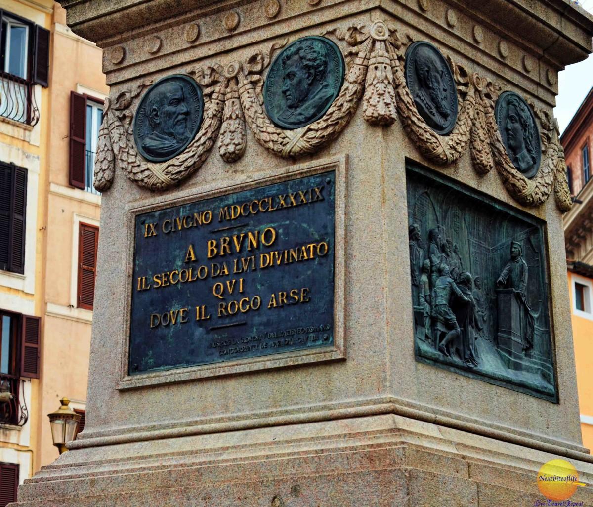 Bruno statue writing campo dei fiori roma
