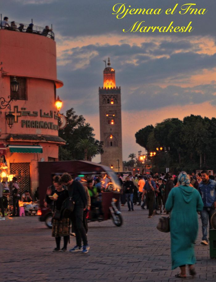 Djemaa el Fna square Marrakech at night with tourists