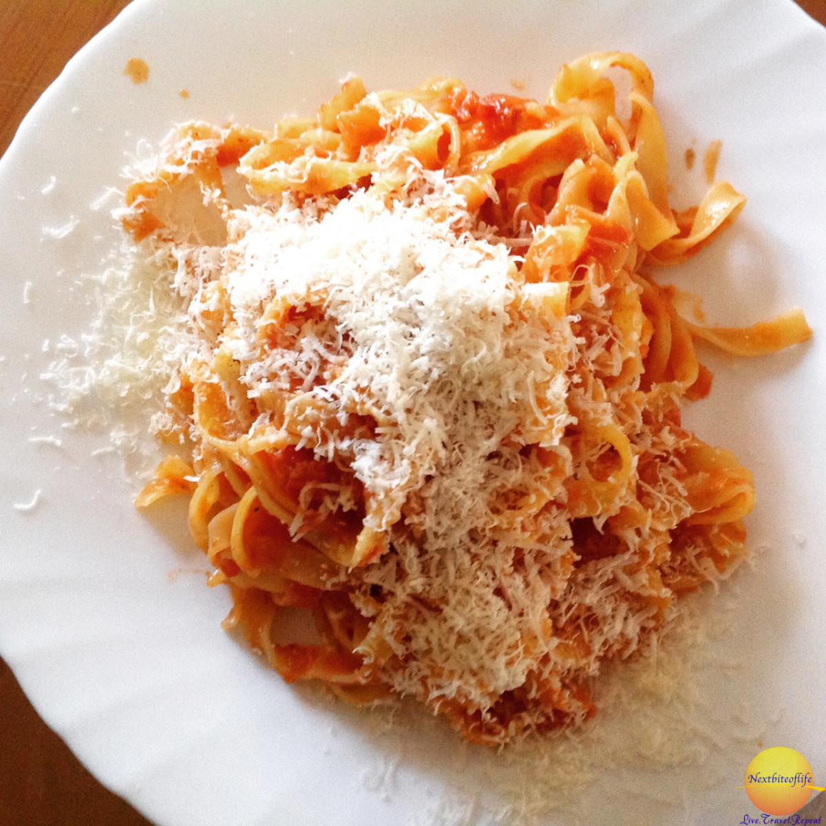 pasta plate with grated cheese