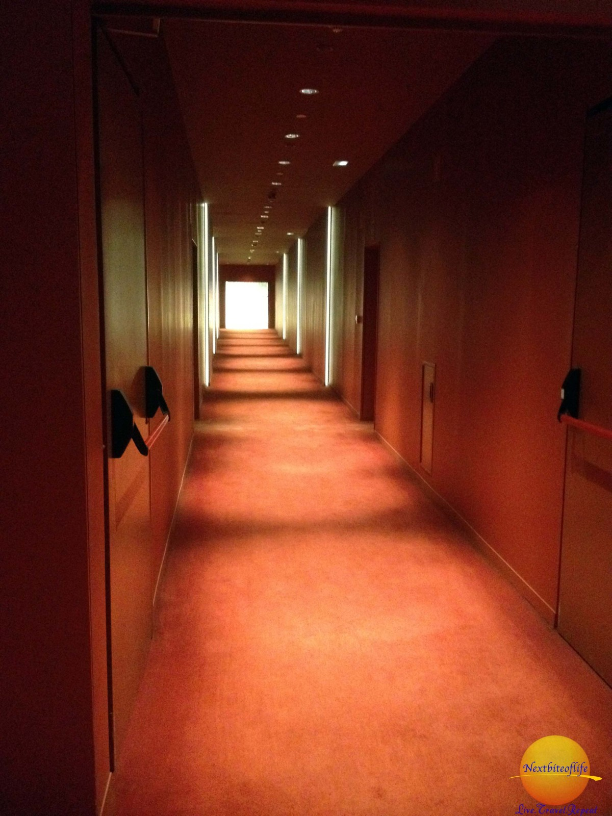 The hallways are dimly lit, and l think on purpose too. You automatically find yourself whispering so as not to disturb anyone.