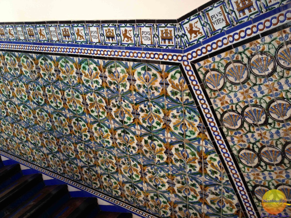 close up of the tiles at alcazar seville