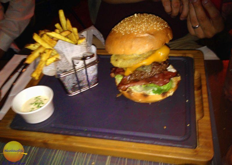 big burger and fries at Salt restaurant Barceloneta W hotel