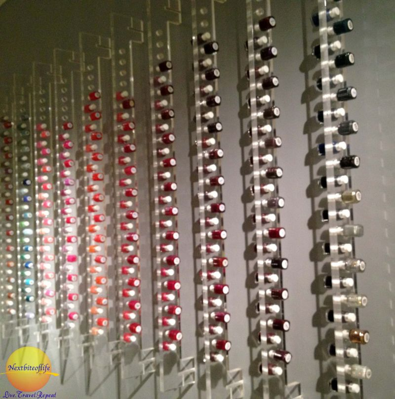 Nail polish selection at W Bliss Spa
