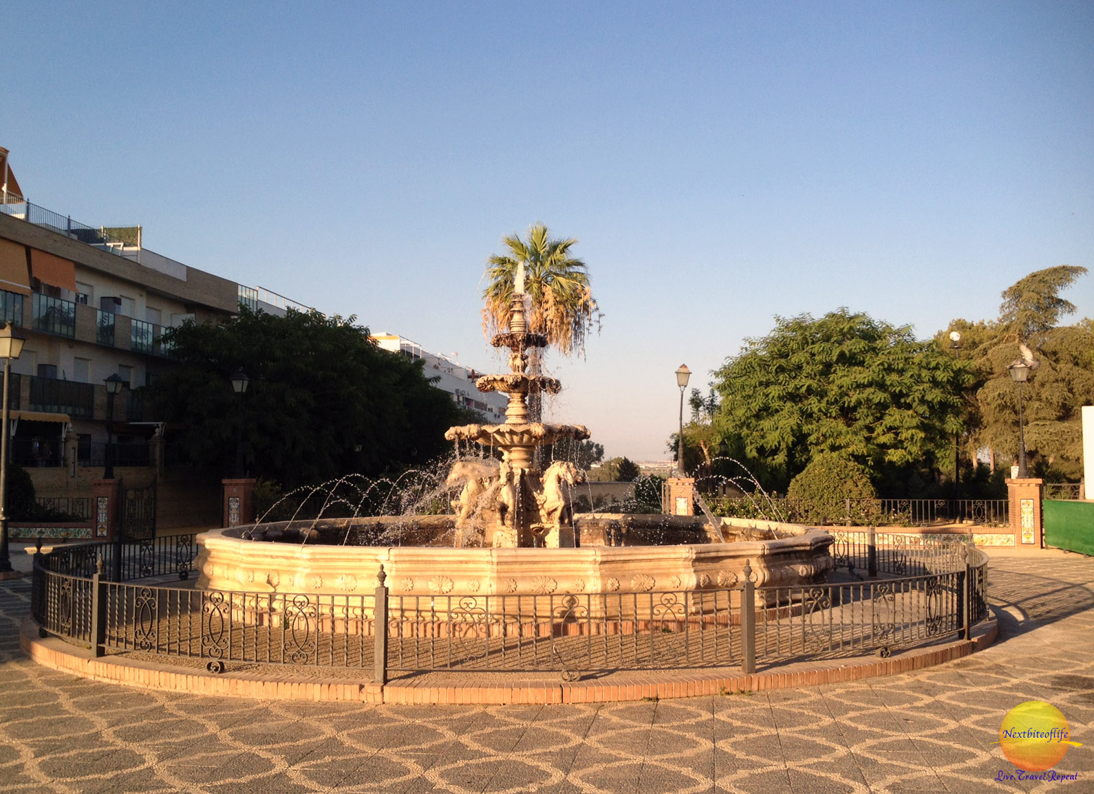 Fountain at the square in Puebla del Rio