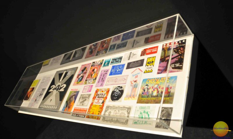 macba old album covers in glass cases