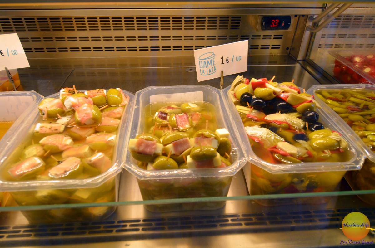 stuffed olives at mercado sevilla