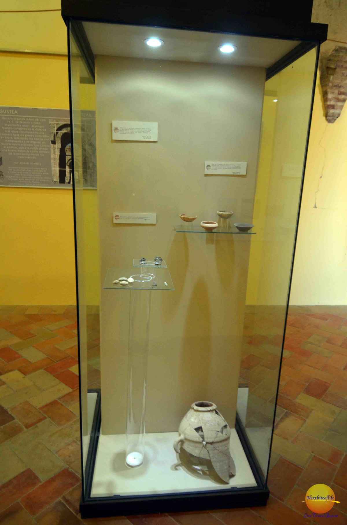 Some of the artifacts displayed in the Upper Prisoners Hall at carmona fortress.
