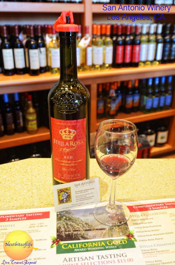 Stella Rosa Red wine at san antonio winery los angeles