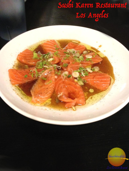 Salmon Carpaccio in truffle oil from Sushi Karen in Los Angeles. #sushikaren #bestsushila #sushi #losangeles #california