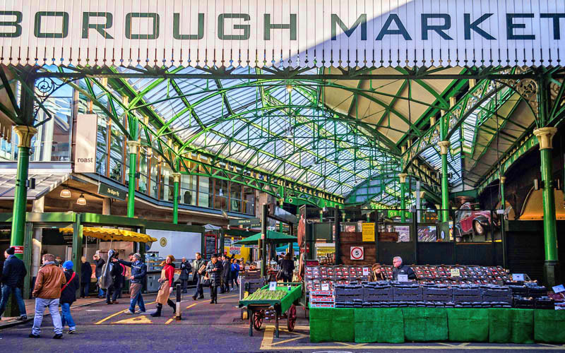 One of the entrances to the Borough Market