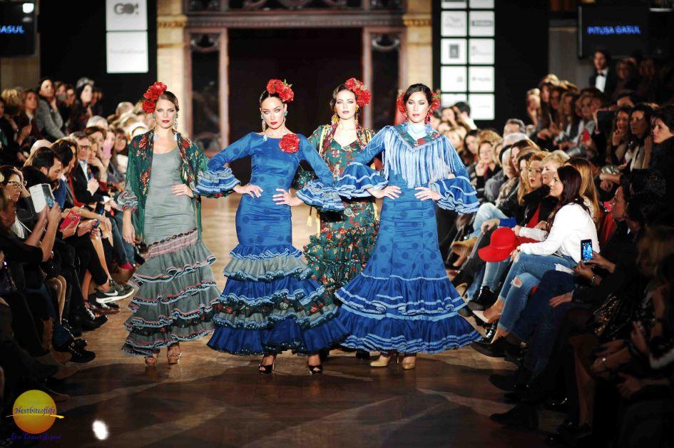 group flamenco women on runway