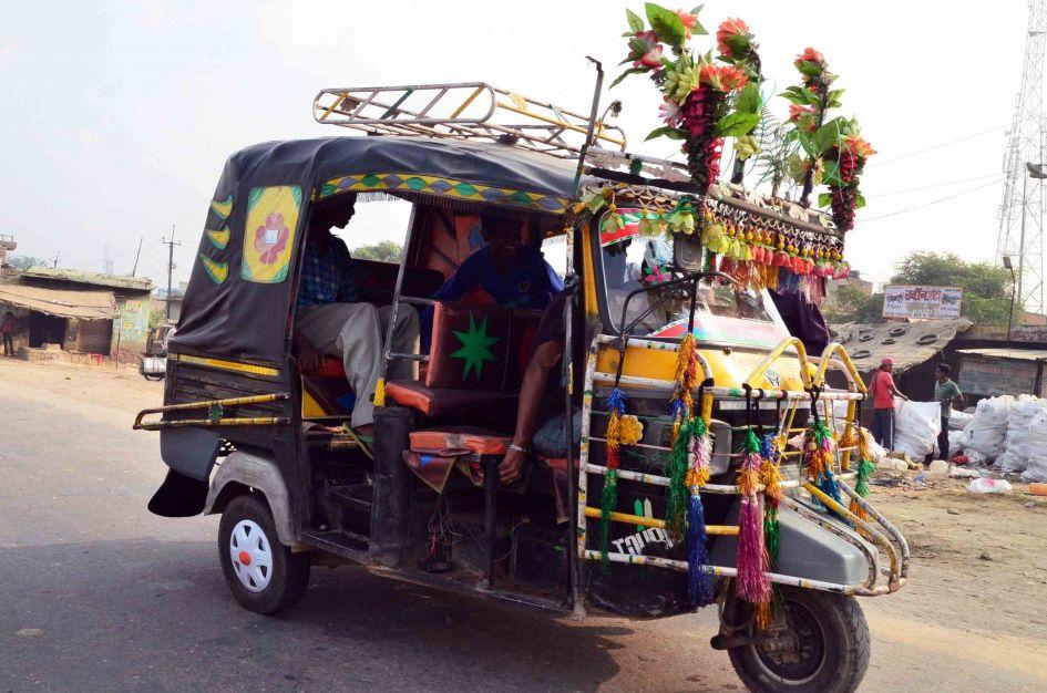 tuk tuk dressed up for hindu festival