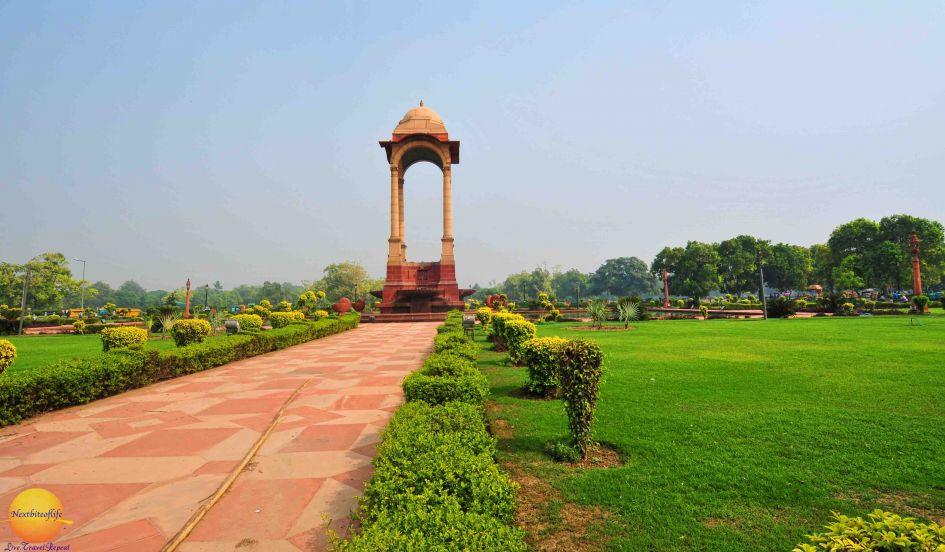 Lush green fields in india gate delhi.