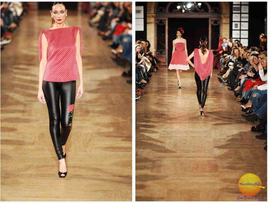 flamenco runway model black pants and red top