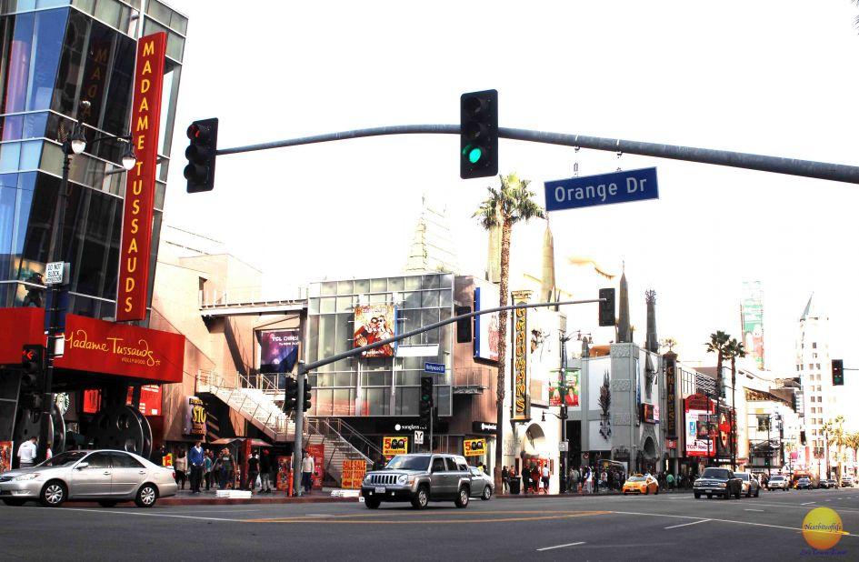 Hollywood Boulevard and orange street crossing