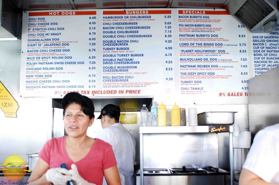 pink's hot dogs menu los angeles