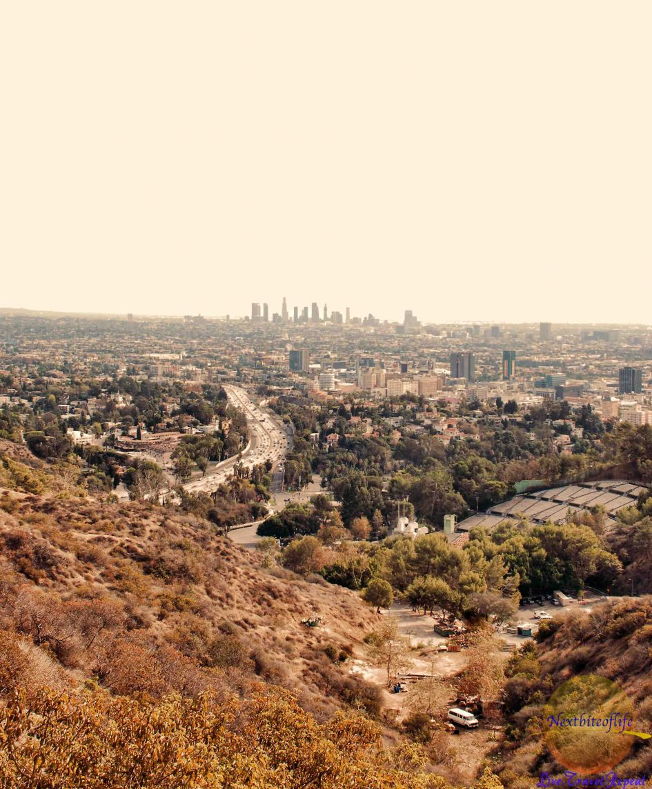 view from mulholland drive los angeles of hollywood bowl