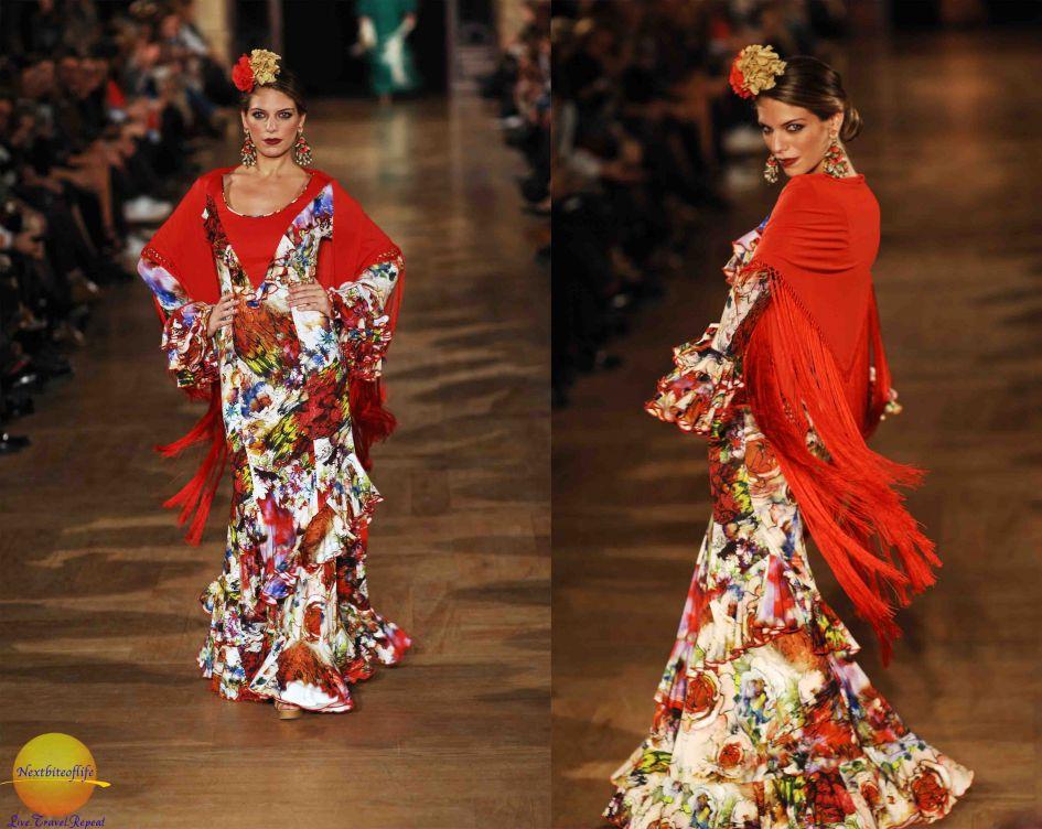 redddish flamenco dress with shawl on we love flamenco model