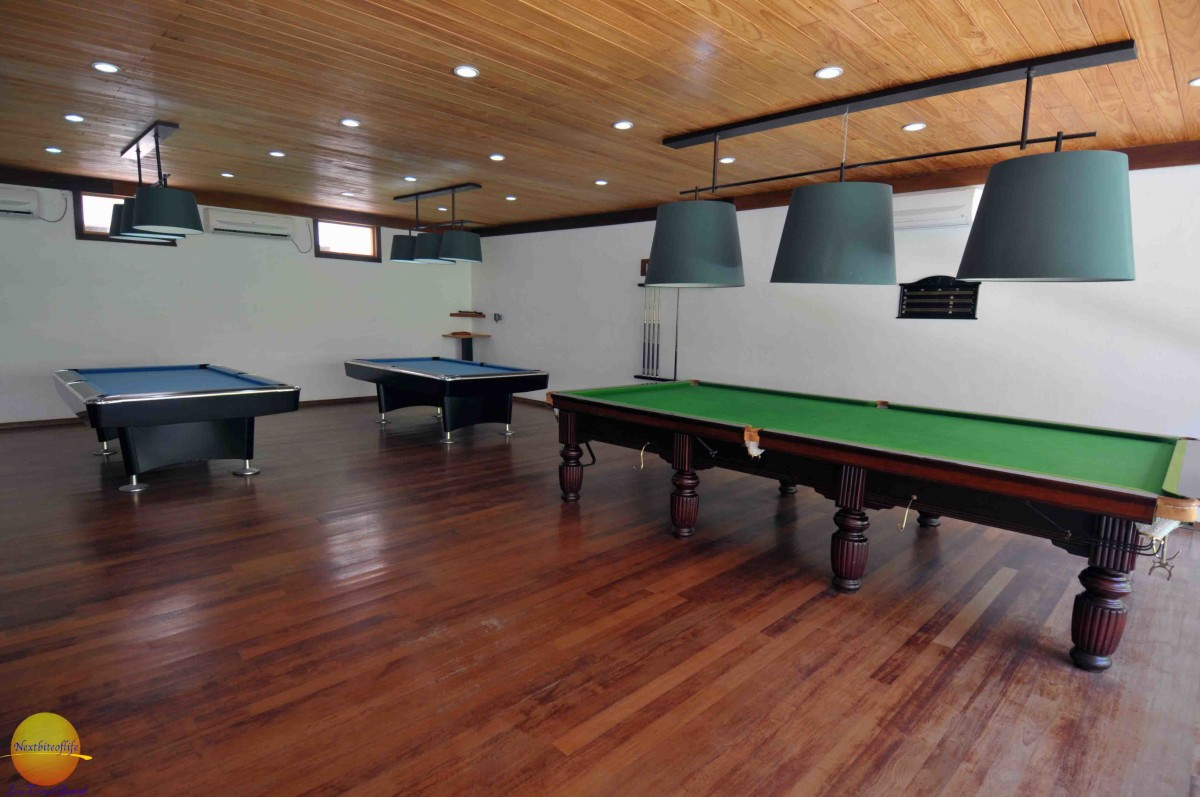 billiards table at the vilamendhoo resort, maldives