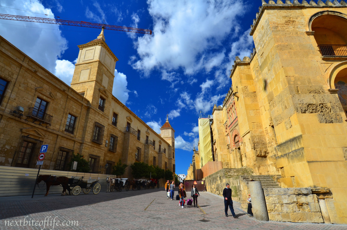 street image of congress palace and mezquita cordoba spain
