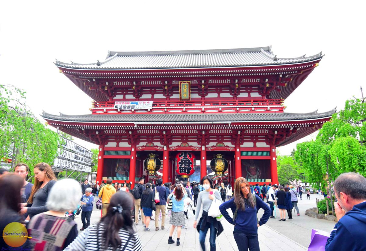 sensoji temple image of hozoman gate with tourists