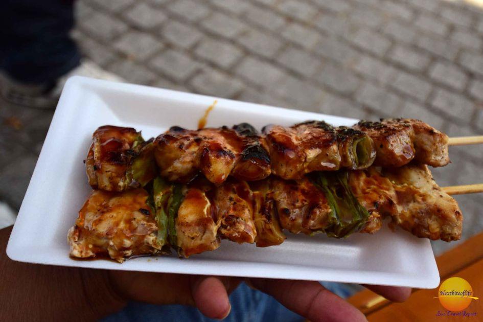 Fantastic skewer chicken street food Japan in what to eat in Japan guide
