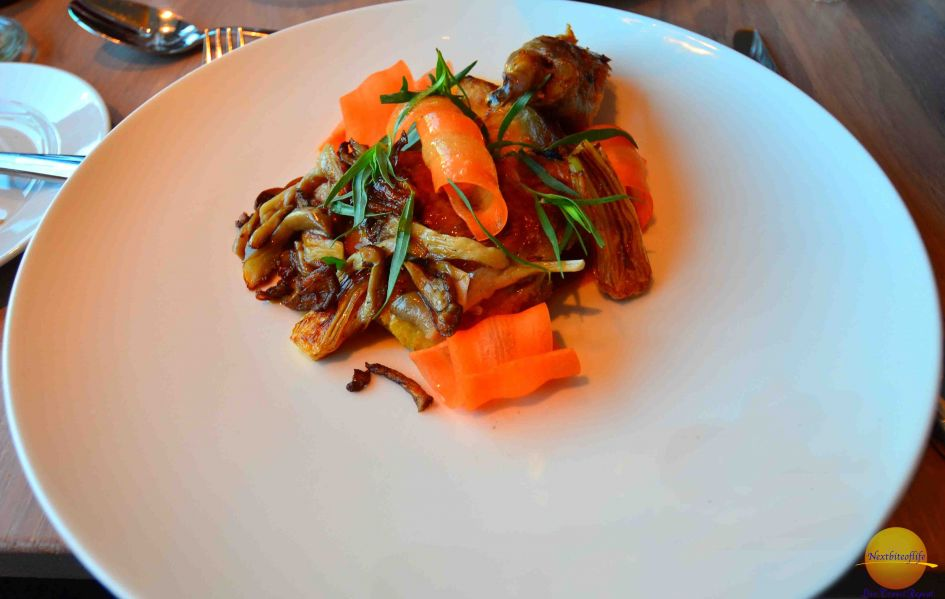 Beef with shaved carrots and mushrooms. Fresh and delicious.