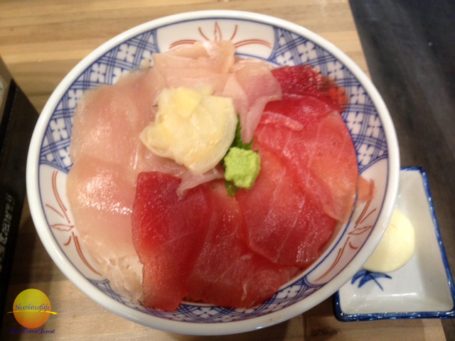 sashimi bowl in Kyoto Japan, a daring food to try in Japan