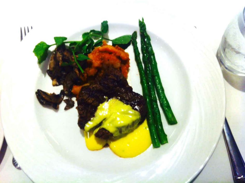 Beef with asparagus on our cruise ship food