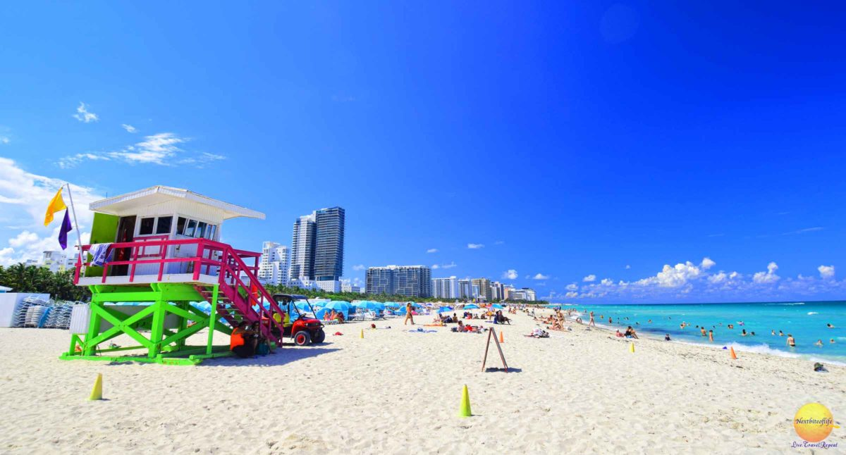 Beach-miami with lifeguard station and people