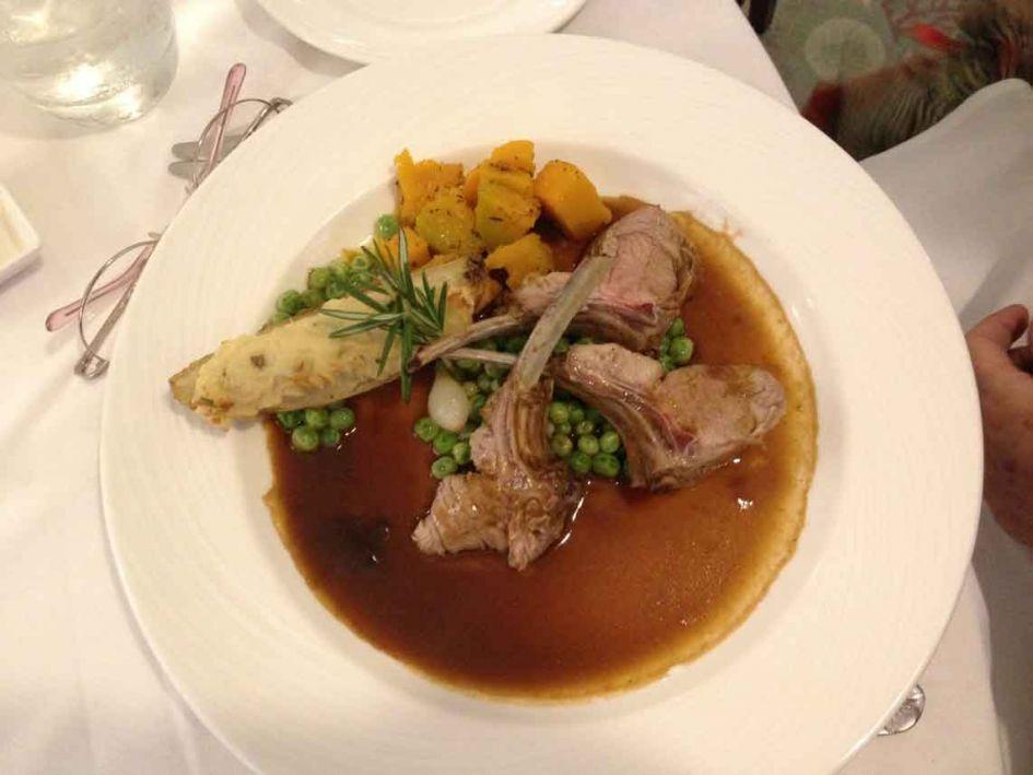Pork chops plate on cruise menu