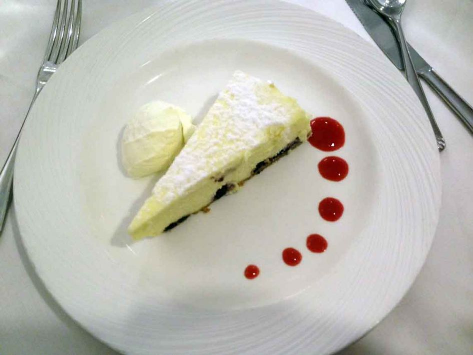 This was a lemon cake of sorts with a scoop of ice cream Cruise ship food