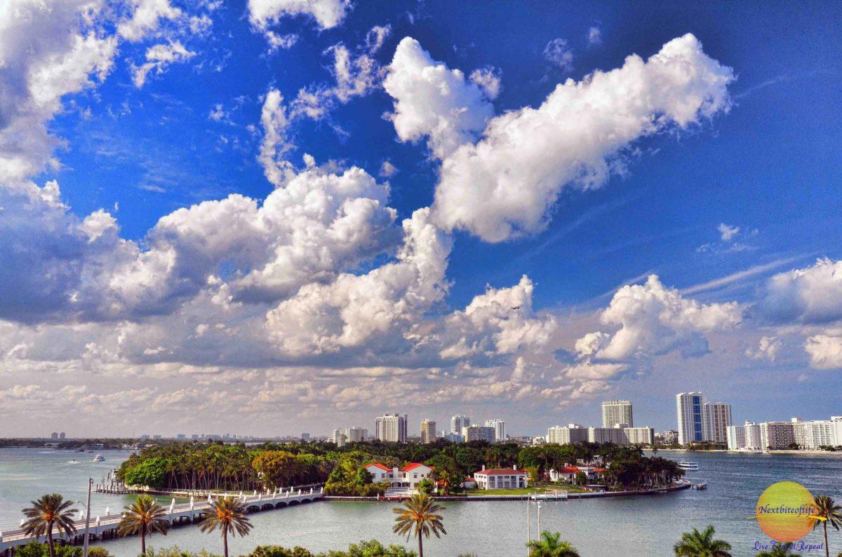 miami skyline with clouds