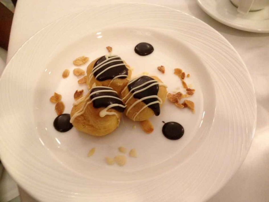 Yummy Profiteroles was just one of our cruise ship food dessert
