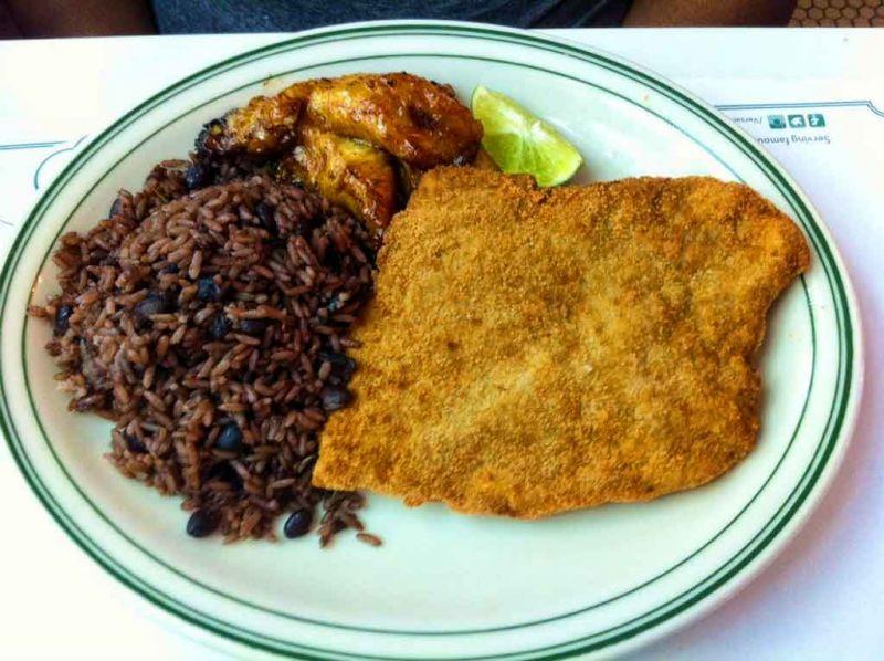 plate at Versailles restaurant Miami, steak, rice, plantain
