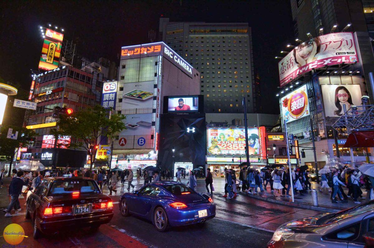 shibuya district at night