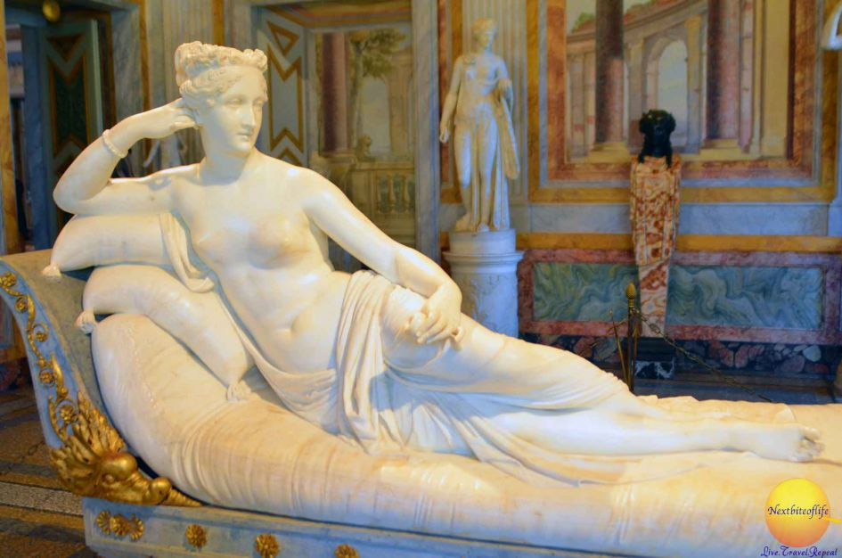 Pauline Bonaparte posing as Venus by sculptor Antonio Canova.