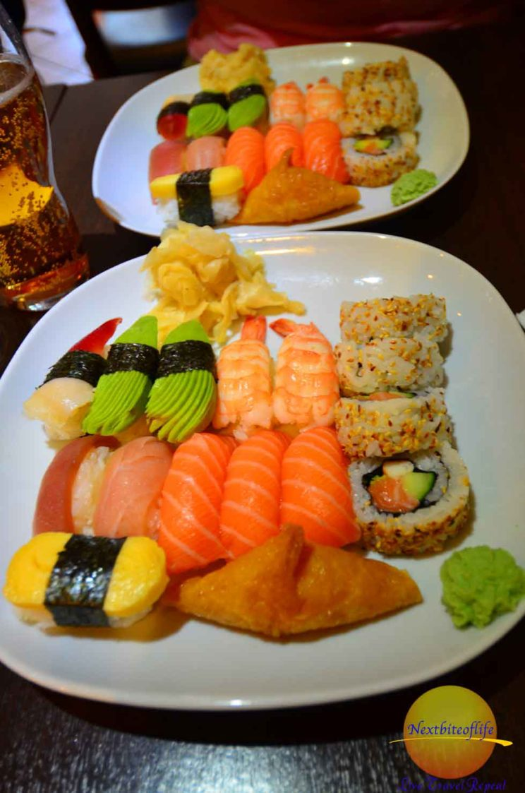 Stockholm Guide: pic of sushi plates variety - delicious food to try in the city