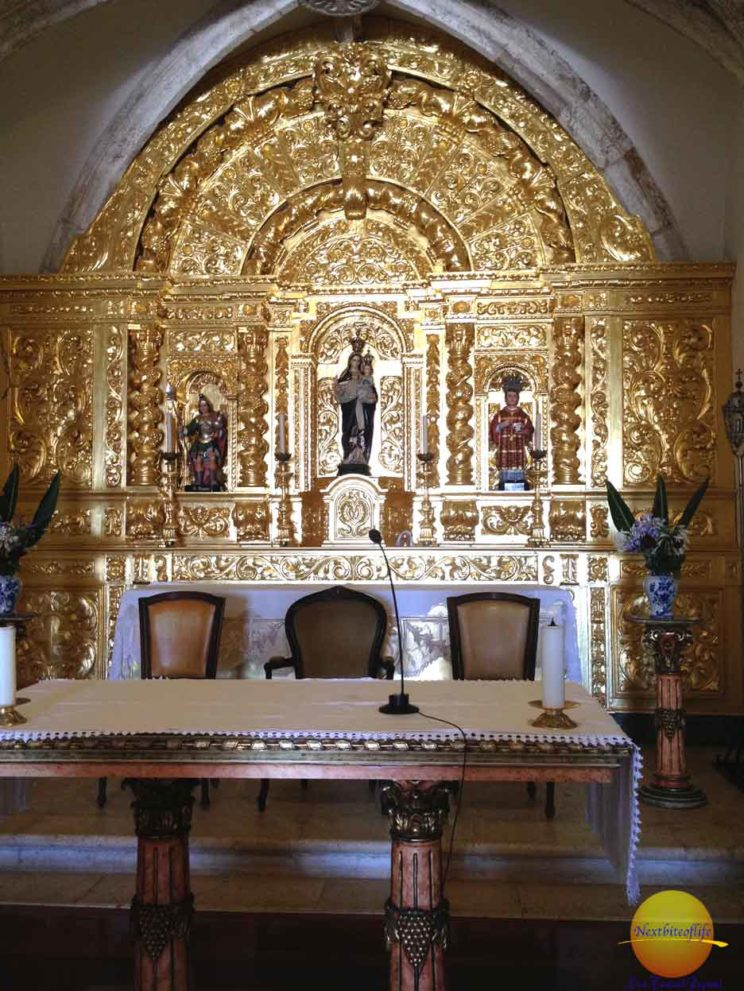 Church in Lagos Portugal interior with gilded gold altar