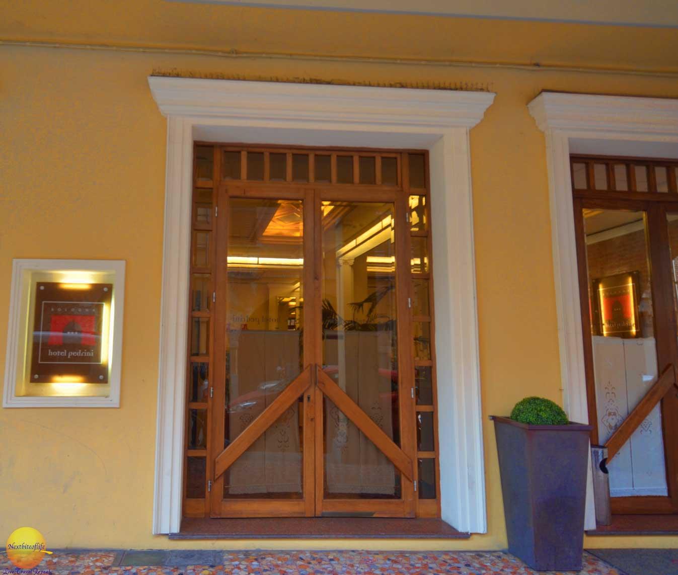bologna italy photel pedrini entrance